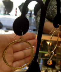 These open circle 14kt gold-hammered earrings would look stunning with a simple but cropped outfit like this one.