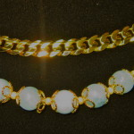 18kt chain link bracelet and jade globe bead bracelet with 18tk gold embellishment (great look together!)