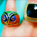 The enamel 14kt gold owl ring is unique on its own, but did you know owls were often worn to display wisdom? Conversation piece!