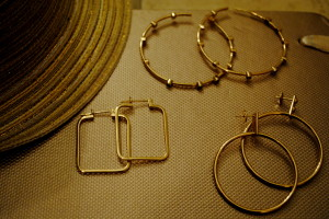 Assorted gold hoops