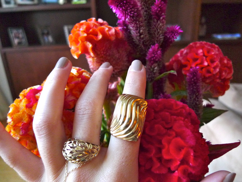 14kt cut out ring and 1980's curved block ring