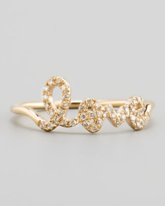 "Sydney Evan 14kt Yellow Gold script ""Love"" Ring Available at: Neiman Marcus"