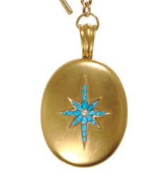 This one is an 18kt antique with a turquoise starburst from Olivia Collings.  I especially love the unique and decorative toggle chain.  Found at Barneys NY