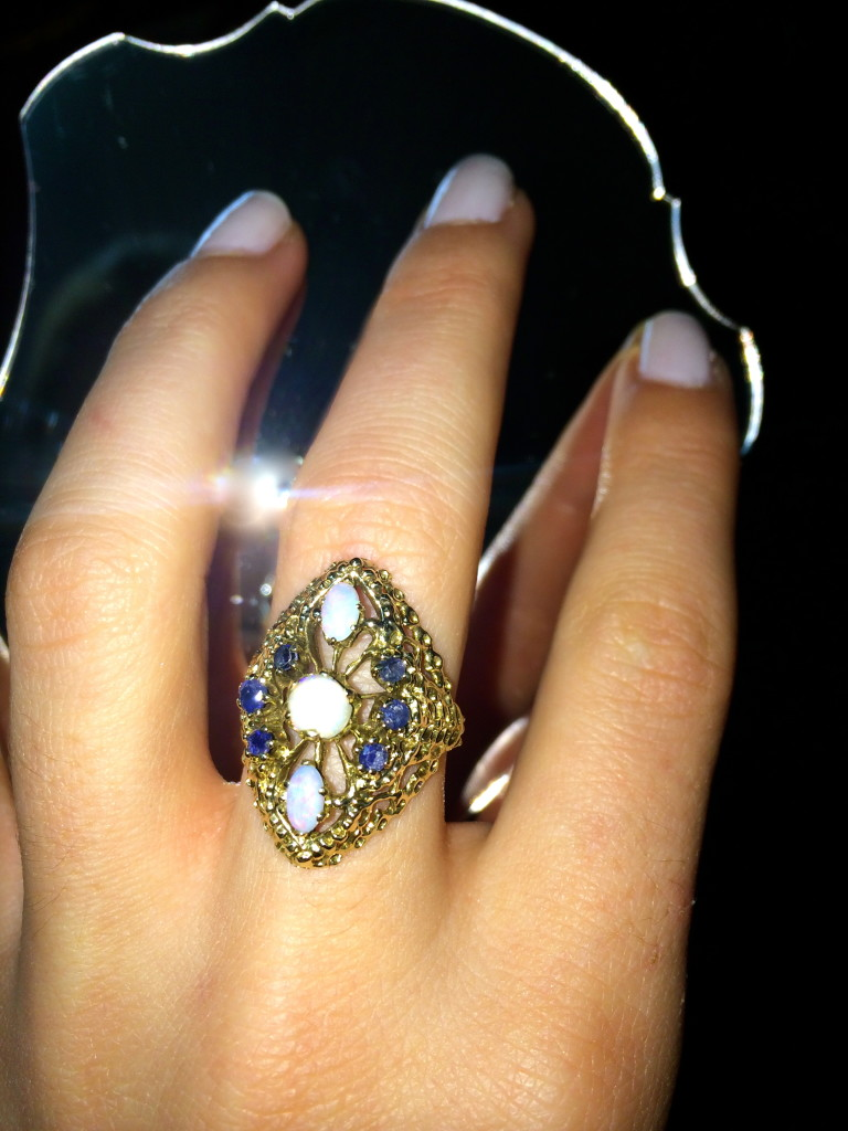 Icy Blues.  I fell in love with this vintage opal and sapphire gold ring.