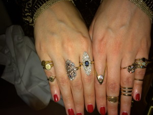 Jewelry blogger, Gem Gossip, famous for her #showmeyourrings showed off a great assortment on her hands, along with this vintage Victorian gold necklace