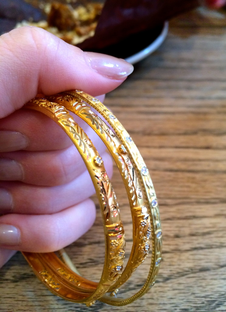 And on the other hand?  I am grasping onto these unique gold bangles with flower engravings and detail. Worn single or mixed with others a set of bangles is a must for any jewelry collector!