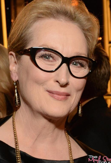 Meryl Streep's gold from Fred Leighton added glamour to her black gown shown in two great gold pieces from Fred Leighton. She is wearing 19th century horn and gold inlay earrings, paired with a 19th century gold chain necklace.  (Image courtesy of https://twitter.com/MerylStreepSite)
