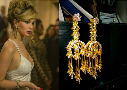 Jennifer Lawrence in American Hustle and a great pair of 18kt gold earrings.