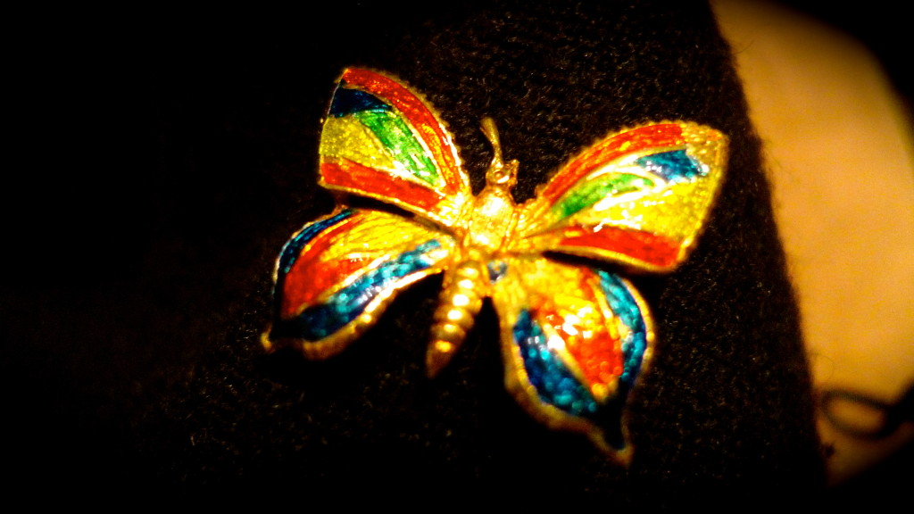 18kt gold with enamel antique butterfly