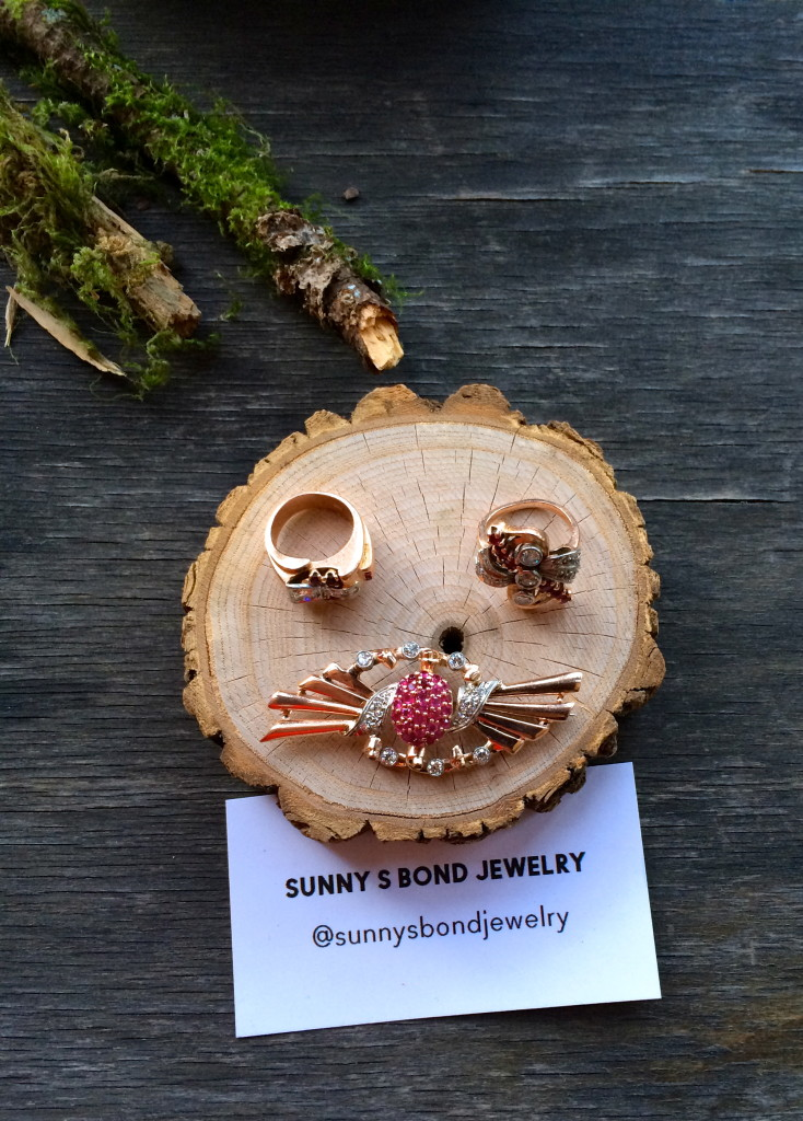 Vintage jewelry aficionado, Sunny Bond, displayed 1950's rose-gold pieces along with this cool vintage gold lighter.