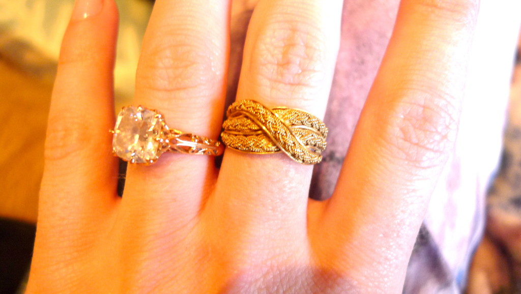 This 18kt vintage twisted and braided gold ring has a Victorian style (the gold wire inside is actually braided!) and could date back to the late 1800's.  I love the feel of textured gold and this ring could go with anything vintage or modern.