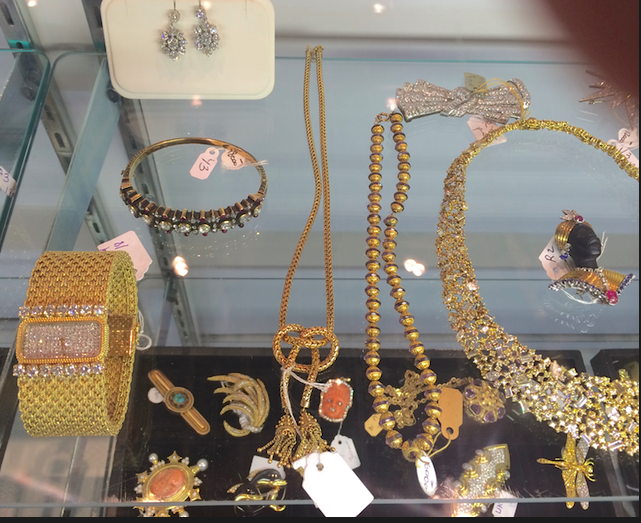 Selection of gold pieces at one of the booth's