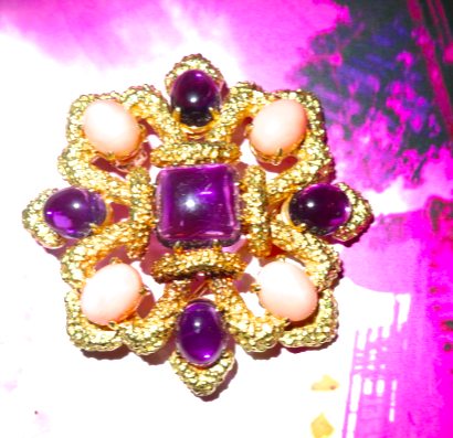 A serious piece – this 18kt gold Van Cleef & Arpels brooch dates back to the 70's.  With gorgeous amethyst gemstones & coral, this pin screams summer style.