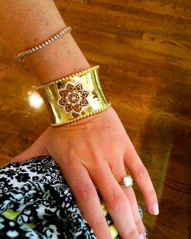 Buddha Mama 20kt Mandala Cuff Bracelet with diamonds